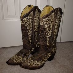 Corral Vintage Cowgirl Boots Only worn a handful of times.... Just don't wear them as much as I thought I would! Beautiful with pretty much anything. Willing to trade only for Hunter Rainboots or another pair of leather boots. Corral Shoes
