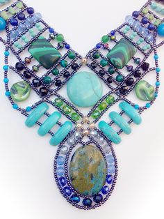"""""""Andromeda Emerald & Turquoise"""" Necklace from Musesa Collection. Unique. $850.00"""