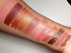 Milani Color Statement Lip liners Naturals & Browns Swatches Left to Right:  Nude Cream, Chocolate Berries, Bronze Beauty, D'Oro, Teddy Bear, Dulce Caramelo, Naturally Chic, Candied Toffees, Double Espresso, Cocoa (lip liner), and Spice (lip liner)