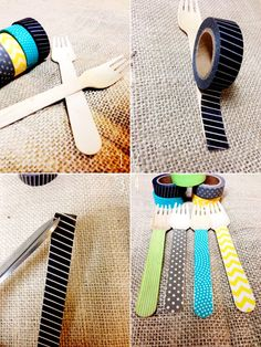 washi utensils diy. great for a kiddie party