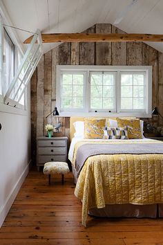 Wood accent walls are incredibly chic. Cottage Style Bedrooms, Style Cottage, Cottage Design, Cottage Living, Lake Cottage, Cozy Cottage, Living Room, Cozy Cabin, Cabin Bedrooms