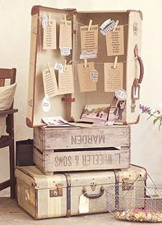 Love this seating plan idea - Rustic vintage wedding idea: use old travel trunks and wooden crates as table for seating charts. Vintage Suitcase Decor, Vintage Suitcases, Vintage Crates, Vintage Pins, Seating Chart Wedding, Seating Charts, Diy Wedding, Rustic Wedding, Wedding Ideas