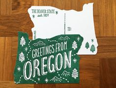 Greetings from Oregon Postcard  Front- Greetings from Oregon Back- The Beaver…