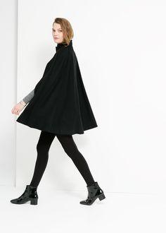 Wool-blend cape - MANGO