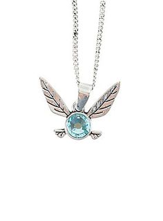 """<p>Let Navi be your partner in the game of life. Wear her around your neck proudly with this necklace from <i>The Legend of Zelda: Ocarina of Time.</i> Silver tone chain necklace features light blue faceted stone accented Navi charm.</p>  <ul> <li>Alloy</li> <li>Chain: 18"""" long with 3"""" extender</li> <li>Charm: 1"""" x 3/4""""</li> <li>Imported</li> </ul>"""