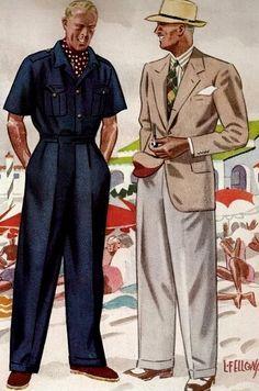 fellows wide trousers pants vintage retro 1940s fedora suit navy shirt men mens man http://www.richardsfabulousfinds.com/