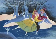 """Mary Blair concept art for Disney's """"Once Upon a Winter Time"""""""