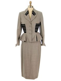 1940 Taupe Wool Peplum Suit with Charcoal Gray Contrasting Horizontal Appliqués at Waist and Collar by Lilli Ann.