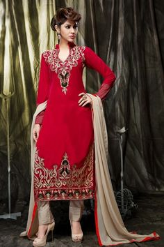 THANKAR RED & CREAM EMBROIDERED VELVET SEMI-STITCHED STRAIGHT SUIT #straight #salwarsuit #clothing #shopping