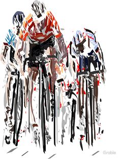 Three cyclists sprinting in the Tour de France. Handmade by Grobie. • Also buy this artwork on wall prints, home decor, stationery, and more.