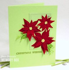 Poinsettia Blooms, Holly Collage and Wrapped Stitch Rectangles by Jean Okimoto - Outside The Box Memories Box, Holiday Cards, Christmas Cards, Xmas, Kunst Shop, Yellow Glitter, Collage, Glitter Cardstock, Christmas Wishes