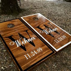 This Listing Includes: set of regulation sized cornhole boards painted/stained & varnished with vinyl graphics boards) set regulation sized cornhole bean bags choice of 2 colors Eac Cornhole Designs, Mr Mrs, Bbq Party Games, Painted Corn Hole Boards, Bean Bag Boards, Wedding Cornhole Boards, Custom Cornhole Boards, Backyard Games, Backyard Bbq