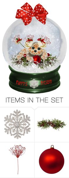 """Let's Make Snowglobes:  Puppy's Present"" by susan0219 ❤ liked on Polyvore featuring art"
