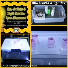 This blog post shows you a very easy and cost effective way to make a light box or light table for your classroom! Add a light box to your centers!