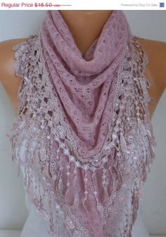 Knitted Lace Scarf Shawl Cowl Oversized Bridesmaid by fatwoman