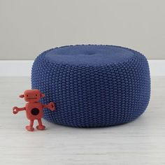 Kids Seating: Blue Knit Braided Pouf Seater in Poufs