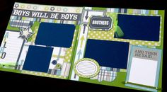12x12 Scrapbook Page Boys Will Be Boys or Brothers Themed Kit . DIY Kit or Pre-Made Double Page Layout. Echo Park