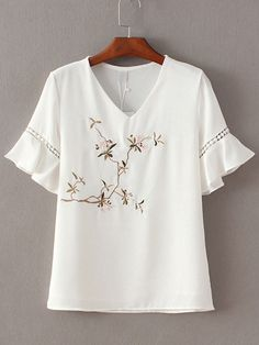 Shop White V Neck Ruffle Sleeve Embroidery Blouse online. SheIn offers White V Neck Ruffle Sleeve Embroidery Blouse & more to fit your fashionable needs. Tunic Blouse, Shirt Blouses, Shirts, Embroidery Fashion, Embroidery Dress, Embroidered Blouse, Blouse Styles, Blouse Designs, Mode Top