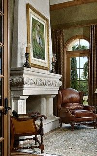 Diy Interior Furniture, Bay Window Exterior, Mediterranean Style Homes, Brown House, Fireplace Mantels, Fireplaces, Estate Homes, Custom Homes, Decoration