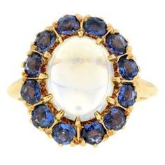 Antique Moonstone Sapphire Cluster Ring