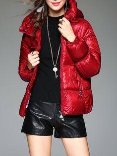 #AdoreWe #StyleWe Coats - TOOTANG Zipper Pockets Red Long Sleeve Hoodie  Down Coat - AdoreWe.net