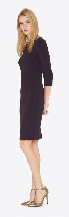Laurie in Plum. This dress is a classic. The boat neck top, ¾ sleeves and a slim pencil skirt give this dress a timeless silhouette.  Lady-like in the sexiest way possible.