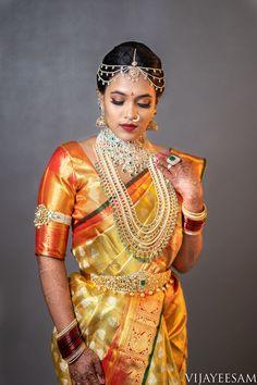 Bridal Sarees South Indian, Indian Bridal Photos, Indian Bridal Fashion, South Indian Bride, Wedding Saree Collection, Bridal Collection, Indian Designer Outfits, Indian Outfits, Kurta Designs