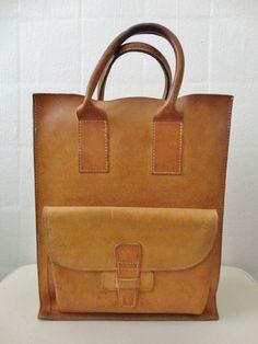 simple vintage leather tote-SR