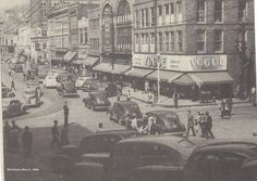 Alton, Illinois - a bustling 3rd Street during the 1940's.