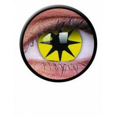 Lentile de contact colorate glabene de petrecere / halloween Crazy Yellow Star - http://lensa.ro/lentile-contact-colorate/crazy/crazy-yellow-star