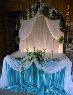 Royal blue head table with backdrop designed by decorative designed and decorated by decorative essentials junglespirit Choice Image