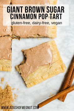Calling all pop tart enthusiasts! Super-size your childhood breakfast favorite with this giant brown sugar cinnamon pop tart that& both gluten-free and vegan! A buttery, golden crust filled with a sweet cinnamon filling and frosted with a cinnamon glaze. Gf Recipes, Tart Recipes, Dairy Free Recipes, Gluten Free Snacks, Gluten Free Vegan, Dairy Free Breakfasts, Dairy Free Meals, Gluten Free Recipes For Breakfast, Gluten Free Pancakes