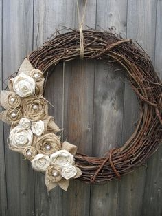 Burlap flower wreath - add large wooden initial in middle
