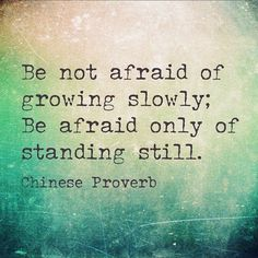 Love this quote! Be not afraid of growing slowly; Be afraid only of standing still. ~ Chinese Proverb