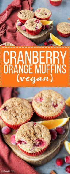 These Cranberry Orange Muffins are bursting with tart cranberries + orange zest and topped with a sweet crumble - you'd never guess that they're vegan!