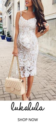 6f2244a0c407c $33.99 Maternity Sexy Lace Plain Sleeveless Formal Dress All White Outfit,  White Outfits, White