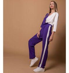 Δίχρωμη Ολόσωμη Φόρμα Κρουαζέ | Λευκό - Βιολετί Jumpsuit, Purple, Pants, Black, Dresses, Fashion, Overalls, Trouser Pants, Vestidos