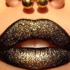 @meltcosmetics 'Bane' lipstick topped with 'Gold medallion' glitter by @coastalscents