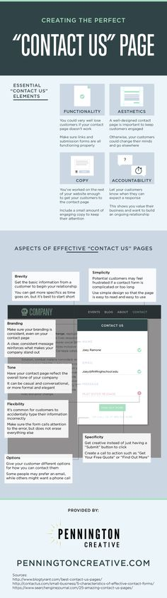 """Creating the Perfect """"Contact Us"""" Page [Infographic] You work hard to ensure your business is successful, and it's important to make sur. Digital Marketing Strategy, Inbound Marketing, Content Marketing, Internet Marketing, Marketing Technology, Marketing Trends, Business Marketing, Web Design, Web Responsive"""