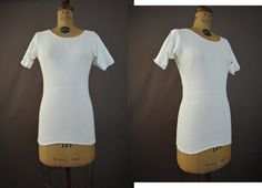 Vintage 1950s Ladies White Cotton Blend Knit Undershirt - 34 to 37 inch bust - T-shirt by dandelionvintage