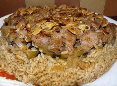 HommusTabbouli: Layered Eggplant, Rice, Cauliflower  more - مقلوبة الباذنجان باللحمة