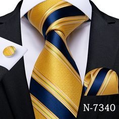 Mens Ties Crafts, Mens Wedding Ties, Mens Silk Ties, Men Ties, Cufflink Set, Yellow Ties, Tie And Pocket Square, Pocket Squares, Mens Fashion Suits