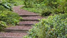 Wooden exterior stairs and landscape steps on the slopes, ideas for natural landscaping - Garden Design DIY Landscaping On A Hill, Natural Landscaping, Landscaping Ideas, Landscaping Software, Steep Hillside Landscaping, Landscaping Contractors, Landscaping Melbourne, Landscaping Company, Outdoor Landscaping