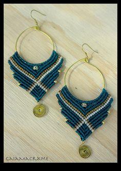 Unique hippie macrame hoop earrings, beautiful gypsy jewelry, tribal festival earrings, colorful pixie~