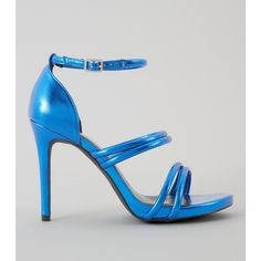 New Look Wide Fit Blue Metallic Ankle Strap Heels ($33) ❤ liked on Polyvore featuring shoes, pumps, navy, high heel stilettos, ankle strap pumps, high heeled footwear, wide width pumps and navy blue stilettos