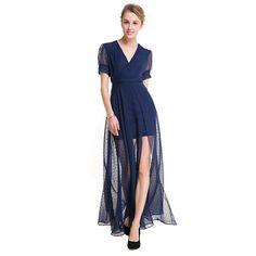 2017 Fashion Spring Autumn Women Casual Loose Deep V-Neck Long Maxi Dress  Sexy Split e737165ecf70