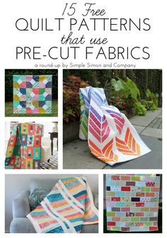 Want to learn how to quilt? Here are 15 Free Quilt Patterns that Use Precuts for beginning quilters! Try them all this weekend!