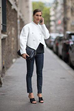 Street Style: Paris Fashion Week Spring 2014  - Samantha Traina in Proenza Schouler Jacket