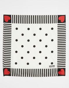 Moschino - Foulard carré en soie à imprimé cœur et pois