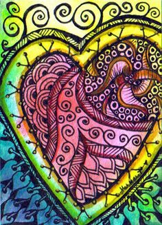 Art hearts for haiti margaret storer-roche Tangle Doodle, Tangle Art, Doodles Zentangles, Zen Doodle, Zentangle Patterns, Doodle Art, Heart Doodle, I Love Heart, Color Heart